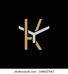 Initial letter Y and K, YK, KY, overlapping interlock logo, monogram line art style, silver gold on black background
