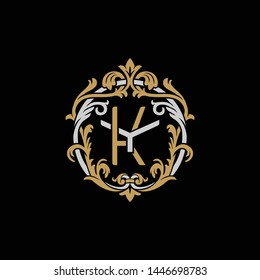 Initial letter Y and K, YK, KY, decorative ornament emblem badge, overlapping monogram logo, elegant luxury silver gold color on black background