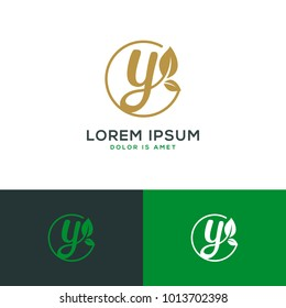 initial letter Y natural leaf logo template vector illustration