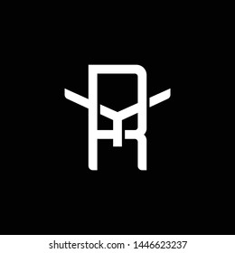 Initial letter Y and R, YR, RY, overlapping interlock monogram logo, white color on black background