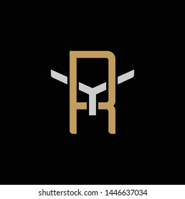 Initial letter Y and R, YR, RY, overlapping interlock logo, monogram line art style, silver gold on black background