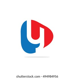 Initial Letter Y Rounded Triangle Logo Blue Red