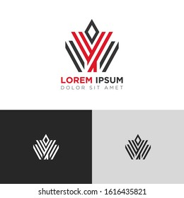 Initial Letter Y YY YYY with crown linked uppercase overlap modern logo design template. Suitable for business, consulting group company. Vector Illustration.