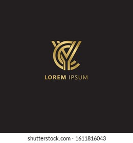 Initial Letter YC linked uppercase overlap modern gold logo vector design template. Suitable for business, consulting group company.  Vector Illustration.