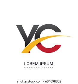 initial letter YC logotype company name colored red, black and yellow swoosh design. isolated on white background.