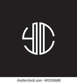 Initial letter YC, minimalist line art monogram circle shape logo, white color on black background
