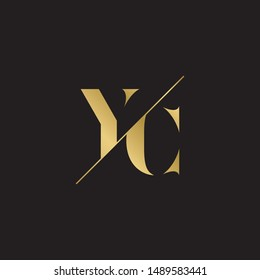 Initial letter yc sliced  uppercase modern logo design template elements. Gold letter Isolated on black  background. Suitable for business, consulting group company.