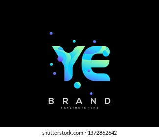 Initial letter YE logo with colorful background, letter combination logo design for creative industry, web, business and company. - Vector