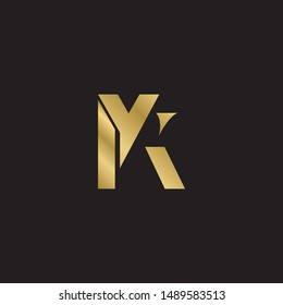 Initial letter yk uppercase modern logo design template elements. Gold letter Isolated on black  background. Suitable for business, consulting group company.