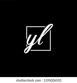 Initial letter YL LY minimalist art monogram shape logo, white color on black background