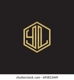 Initial letter YL, minimalist line art hexagon logo, gold color on black background