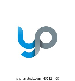 initial letter yp modern linked circle round lowercase logo blue gray