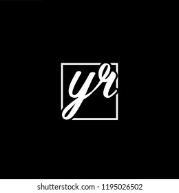 Initial letter YR RY minimalist art monogram shape logo, white color on black background