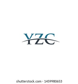 Initial letter YZC, overlapping movement swoosh horizon logo company design inspiration in blue and gray color vector