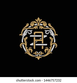 Initial letter Z and A, ZA, AZ, decorative ornament emblem badge, overlapping monogram logo, elegant luxury silver gold color on black background
