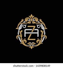 Initial letter A and Z, AZ, ZA, decorative ornament emblem badge, overlapping monogram logo, elegant luxury silver gold color on black background