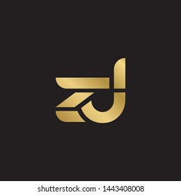 Initial letter z d linked lowercase logo design template elements. Gold letter Isolated on black  background. Suitable for business, consulting group company.