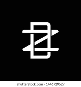 Initial letter Z and D, ZD, DZ, overlapping interlock monogram logo, white color on black background