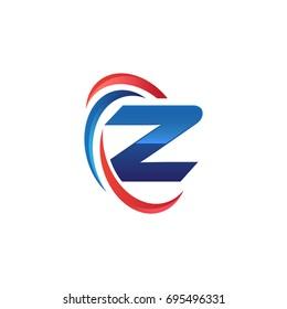initial letter Z logo swoosh red blue
