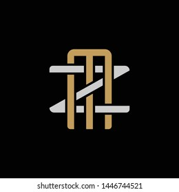 Initial letter Z and M, ZM, MZ, overlapping interlock logo, monogram line art style, silver gold on black background