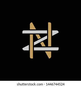 Initial letter Z and N, ZN, NZ, overlapping interlock logo, monogram line art style, silver gold on black background