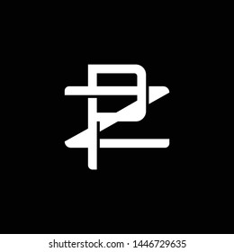 Initial letter Z and P, ZP, PZ, overlapping interlock monogram logo, white color on black background