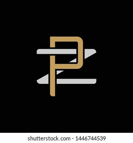 Initial letter Z and P, ZP, PZ, overlapping interlock logo, monogram line art style, silver gold on black background