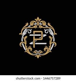 Initial letter Z and P, ZP, PZ, decorative ornament emblem badge, overlapping monogram logo, elegant luxury silver gold color on black background