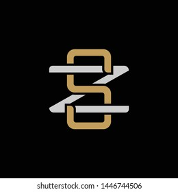 Initial letter Z and S, ZS, SZ, overlapping interlock logo, monogram line art style, silver gold on black background