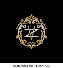 Initial letter Z and V, ZV, VZ, decorative ornament emblem badge, overlapping monogram logo, elegant luxury silver gold color on black background