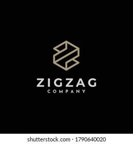 Initial Letter Z Zigzag classic logo, luxury elegant gold golden hexagon monogram symbol