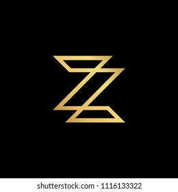 Initial letter Z ZZ minimalist art monogram shape logo, gold color on black background