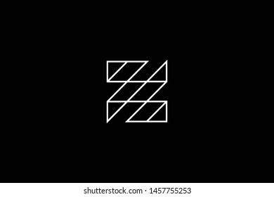 Initial letter Z ZZ ZS SZ minimal monogram art logo, white color on black background.