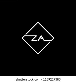 Initial letter ZA AZ minimalist art monogram shape logo, white color on black background.