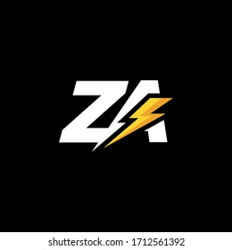 Initial Letter ZA with Lightning