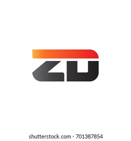 Initial letter ZD, straight linked line bold logo, gradient fire red black colors