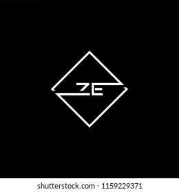 Initial letter ZE EZ minimalist art monogram shape logo, white color on black background.