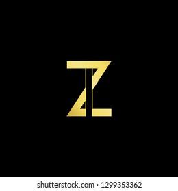 Initial letter ZI IZ minimal monogram art logo, gold color on black background.
