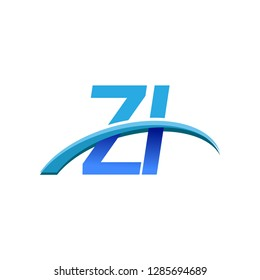 initial letter ZI logotype company name colored blue and swoosh design. vector logo for business and company identity.