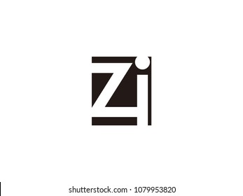 Initial letter zi lowercase logo black and white