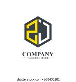 Initial Letter ZJ ZI Hexagonal Design Logo