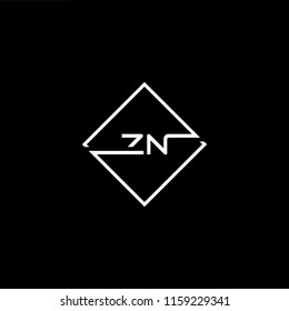 Initial letter ZN NZ minimalist art monogram shape logo, white color on black background.