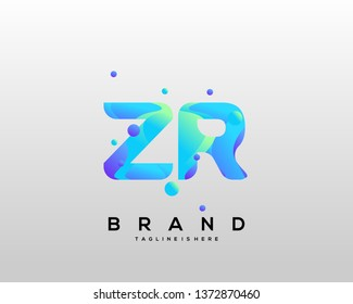 Initial letter ZR logo with colorful background, letter combination logo design for creative industry, web, business and company. - Vector