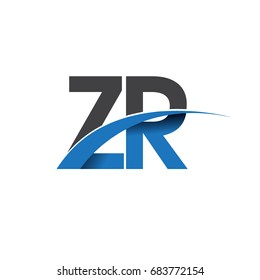 initial letter ZR logotype company name colored blue and grey swoosh design. vector logo for business and company identity.