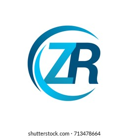 initial letter ZR logotype company name blue circle and swoosh design. vector logo for business and company identity.