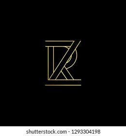 Initial letter ZR RZ minimal monogram art logo, gold color on black background.