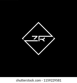 Initial letter ZR RZ minimalist art monogram shape logo, white color on black background.