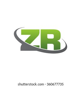 initial letter ZR swoosh ring company logo green gray