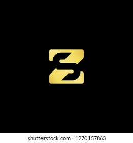 Initial letter ZS SZ minimalist art logo, gold color on black background.