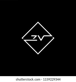 Initial letter ZV VZ minimalist art monogram shape logo, white color on black background.